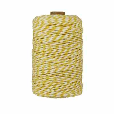 Ficelle Baker Twine - 2 mm - Bobine de ficelle Twine en coton recyclé - Jaune et blanc