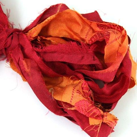 Ruban de soie de sari rouge orange pour couture, bijoux, artisanat, art textile