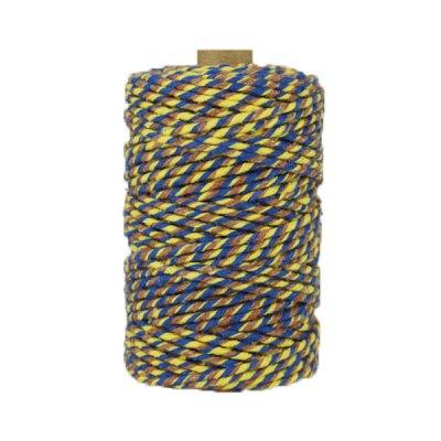 Ficelle Baker Twine - 3mm - Bobine - Bleu/jaune/marron