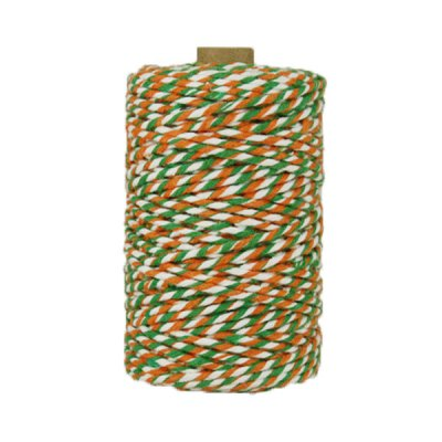 Ficelle Baker Twine - 3mm - Bobine - Vert/blanc/orange
