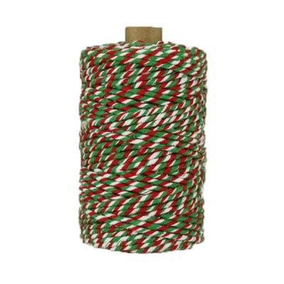 Ficelle Baker Twine - 3mm - Bobine - Rouge/blanc/vert