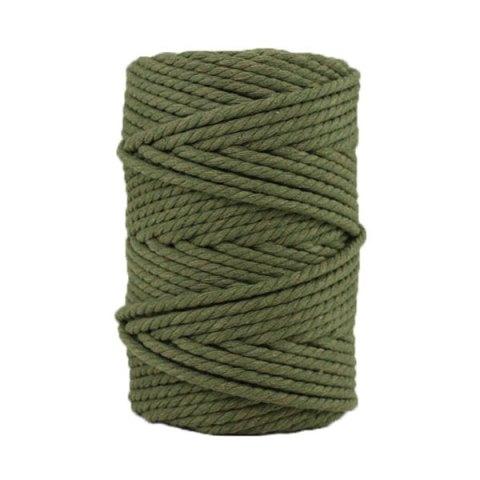 Corde macramé artisanale - Cordon - Ficelle - Fil de coton torsadé 4 mm - Vert militaire