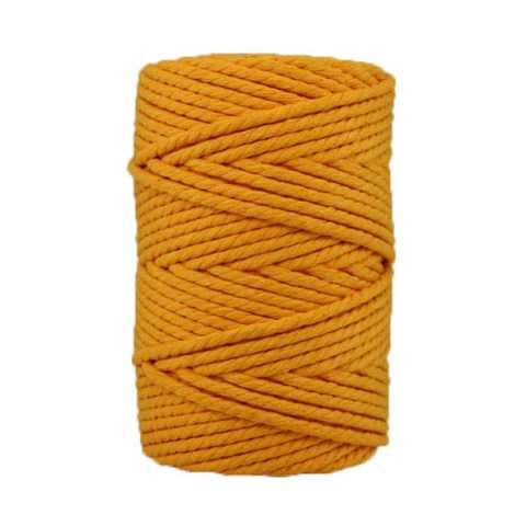 Corde macramé artisanale - Cordon - Ficelle - Fil de coton torsadé 4 mm - Jaune d'or