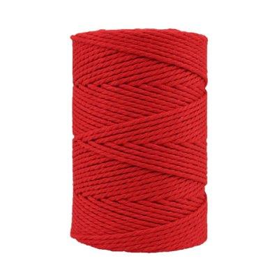 Corde macramé artisanale - Coton - Cordon - Ficelle - Fil 3 mm - Rouge coquelicot