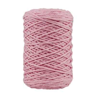 Coton bitord, barbante, fil de coton recyclé, 3 mm, rose dragée