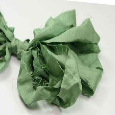 Ruban-soie-de-sari-Vert-sauge