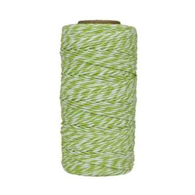 Fil de coton ciré - Vert anis et blanc