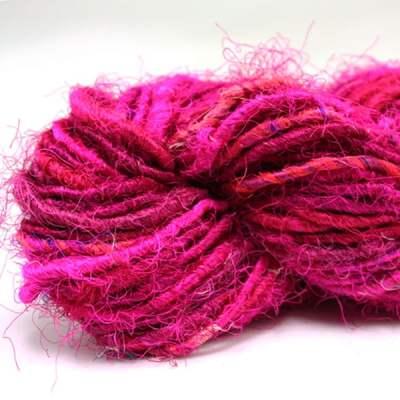 Fil de soie de sari - Rose fuchsia