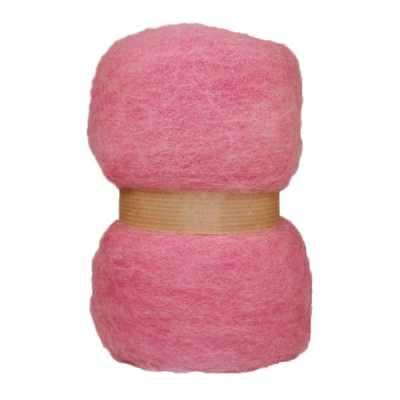 Laine cardée en nappe - Rose guimauve