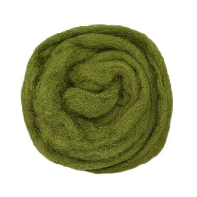 Laine cardée ruban - Vert mousse