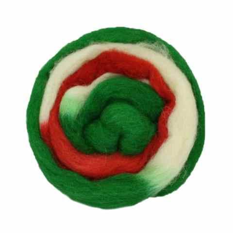 Laine cardée ruban - Vert rouge blanc cassé