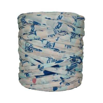 Trapilho-bobine-Imprimé-bleu rose-blanc-cassé