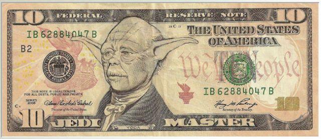 Yoda on a ten dollar bill