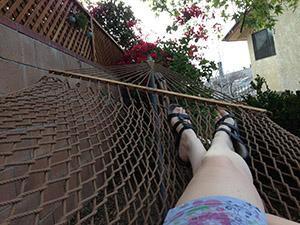 Laurie's legs in a hammock