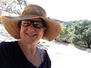 Laurie in a hat