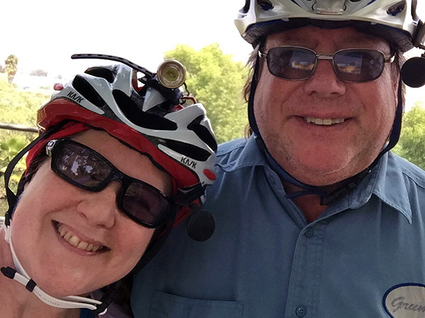 Laurie and Mark in bike helmets