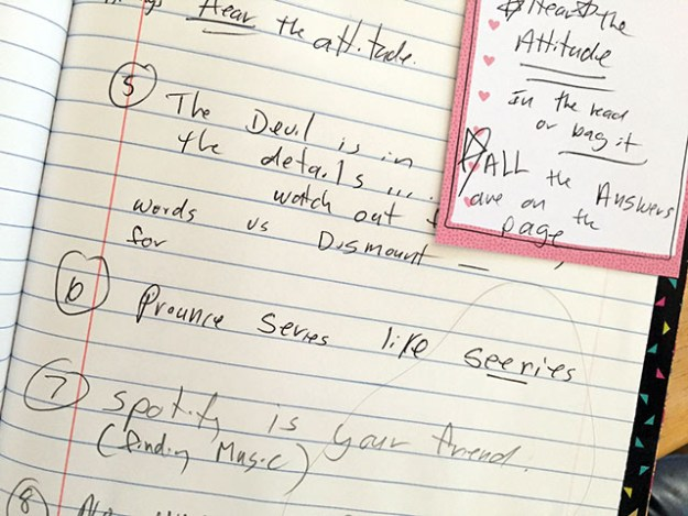 Close up of Laurie's notes in Mary's handmade journal