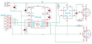 A MIDI to RS232 adapter (electronic circuit)
