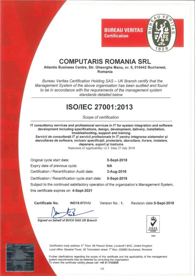 Computaris ISO 27001:2013 Certificate for security of information management system