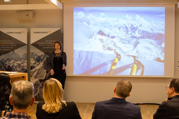 Raluca Rusu speaking at Computaris Suisse opening event in Switzerland