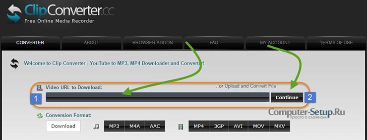 Online ClipConverter.cc service til download af klip fra internettet