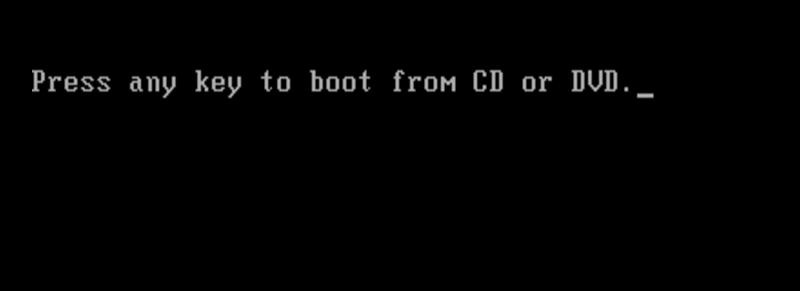 Pressione qualquer tecla para inicializar a partir de USB