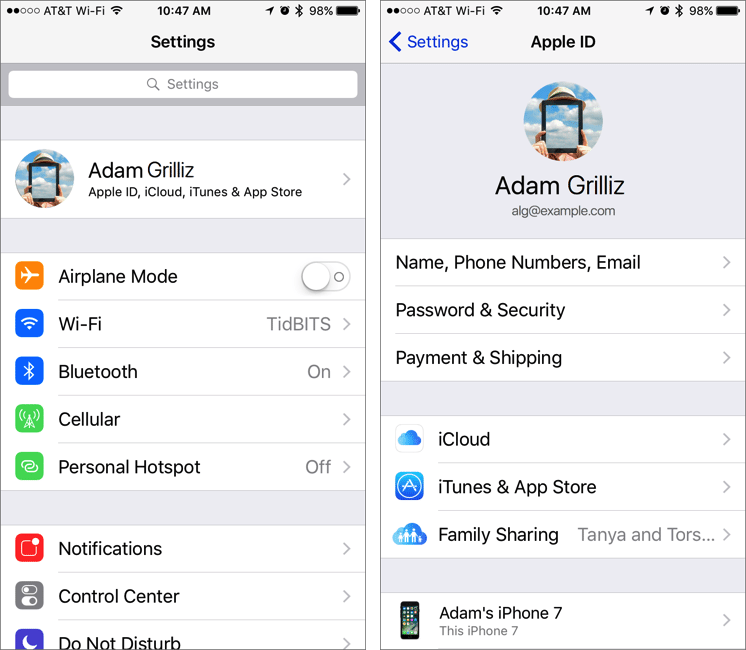 iOS 10.3 Moves iCloud and iTunes in the Settings App