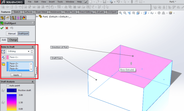 Direction of pull draft feature solidworks