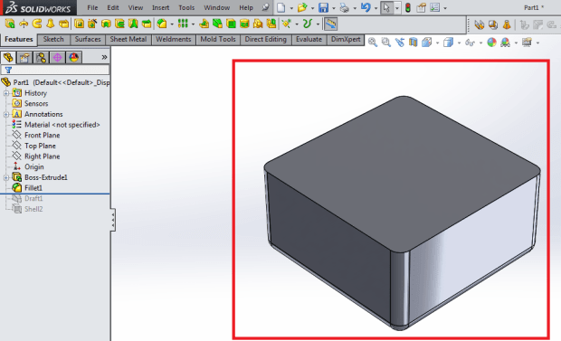 Finished fillet for design plastic part mold