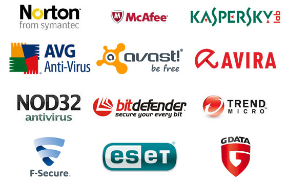 Logos of several popular antivirus programs