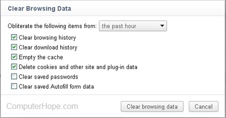 Chrome clear browsing data window