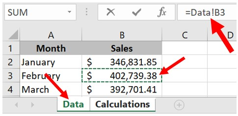 Reference cell from another worksheet in Microsoft Excel