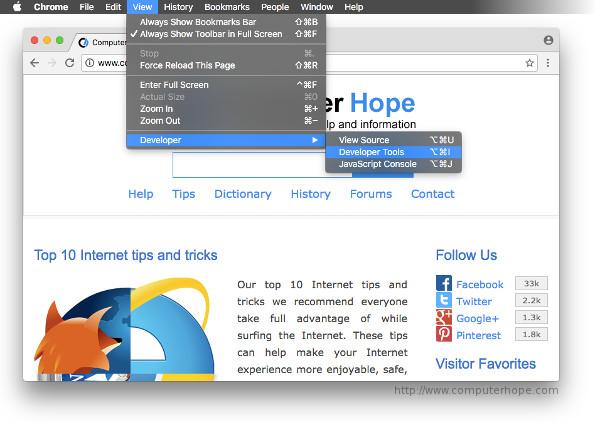 Accéder aux outils de développement Chrome