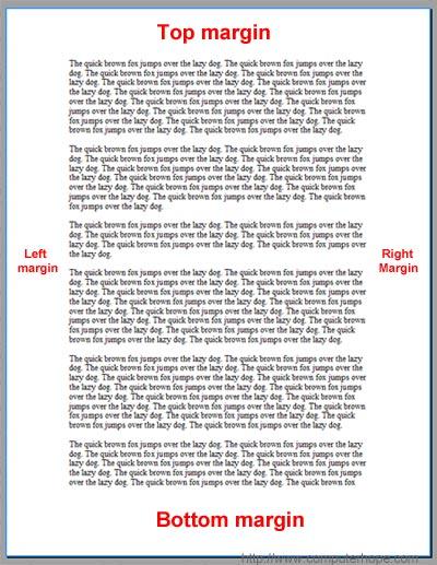 Standard essay margins