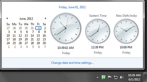 Showing more than one timezone clock in Windows