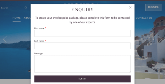 Contact form showing in a Foundation reveal popup, launched from a button in the header. An overlay obscures the page behind.