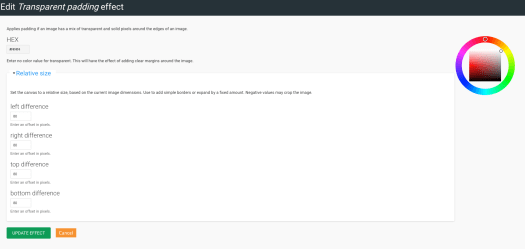 Custom image style settings page