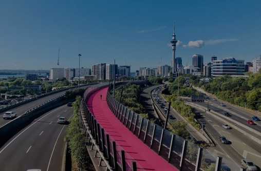 Cycle path flyover over roads into Auckland