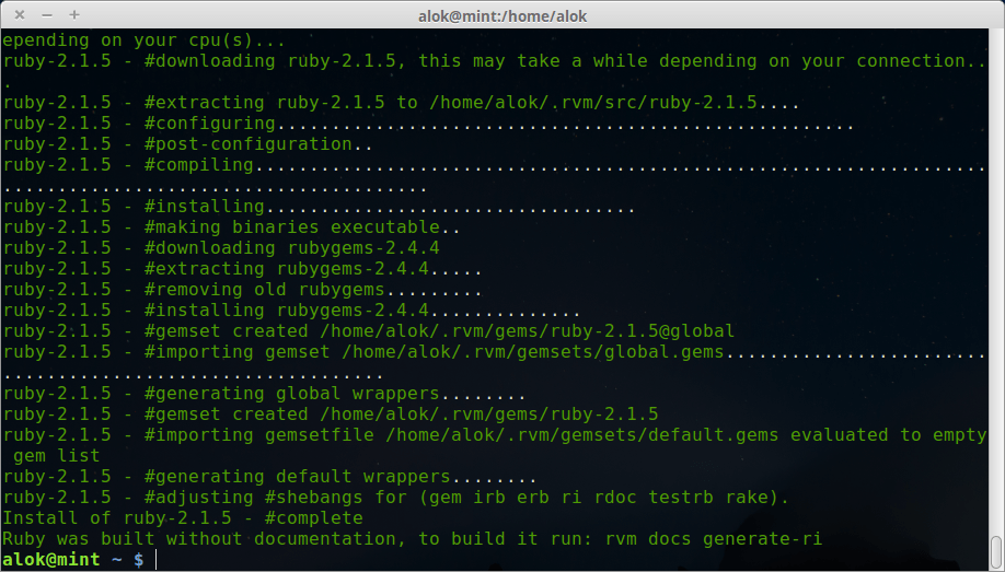 ruby installed in linux mint