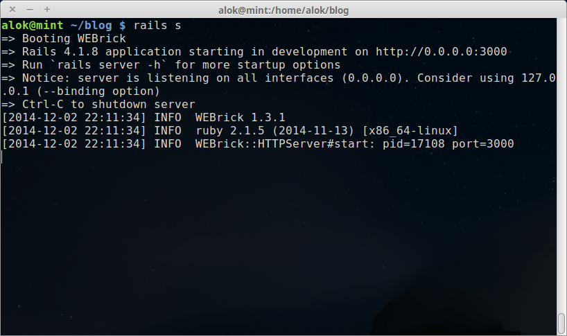 rails server Linux mint