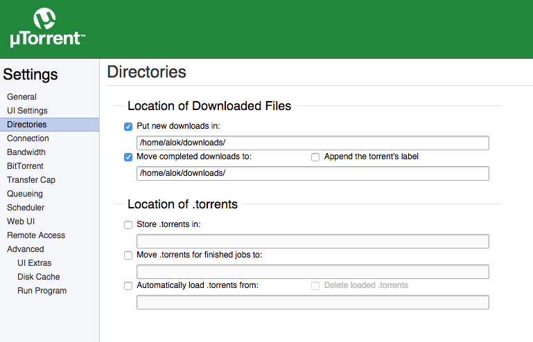 utorrent directory settings linux