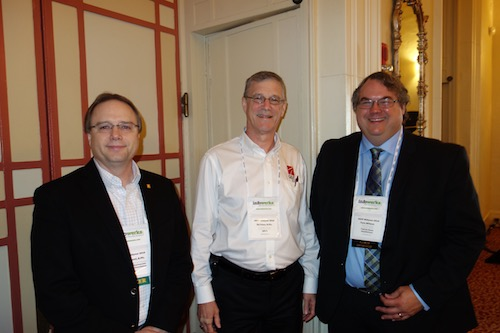 From left, speaker Ben Bluml from the American Pharmacists Association Foundation, QS/1's Ed Vess, and Tabula Rasa HealthCare's Tom Wilson. Bluml presented the results of a pilot project that studied innovative methods for optimizing and personalizing medication therapy using pharmacogenetics.