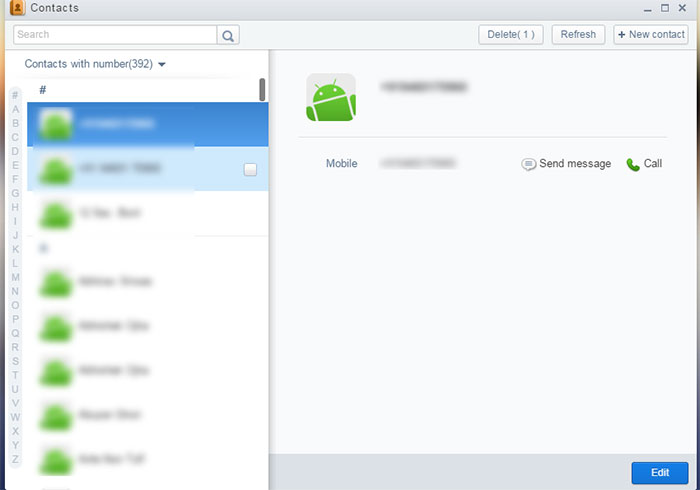 contact in airdroid