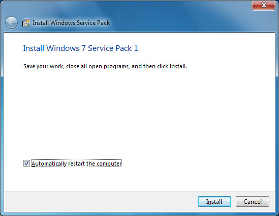click on install for sp1