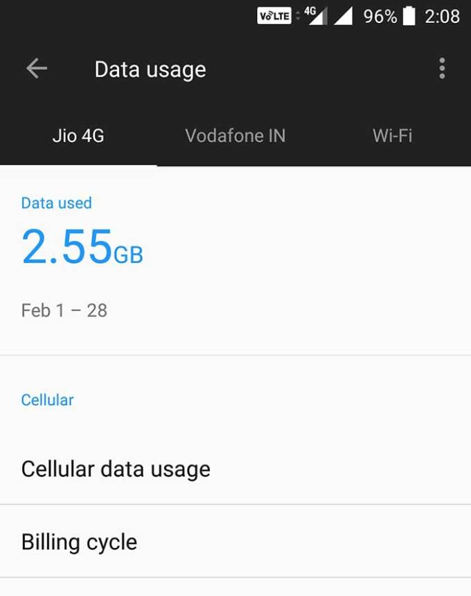 Check jio data usage