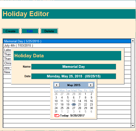 Holiday Editor