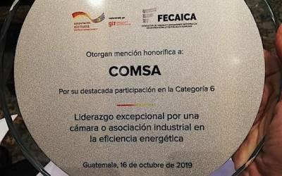 COMSA recibe reconocimiento por implementar proyectos de eficiencia energética