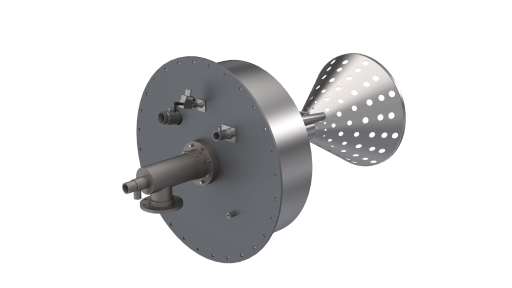 FC burner in 3D drawing to demonstrate all of it's components