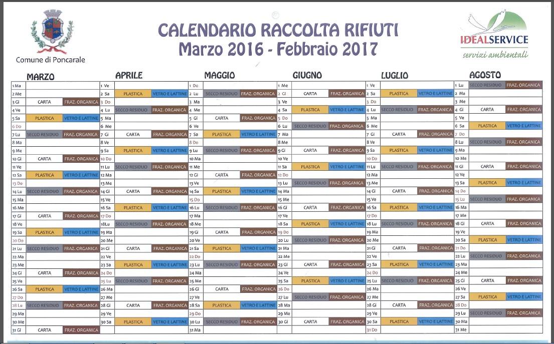 Raccolta Rifiuti Calendario Moduli
