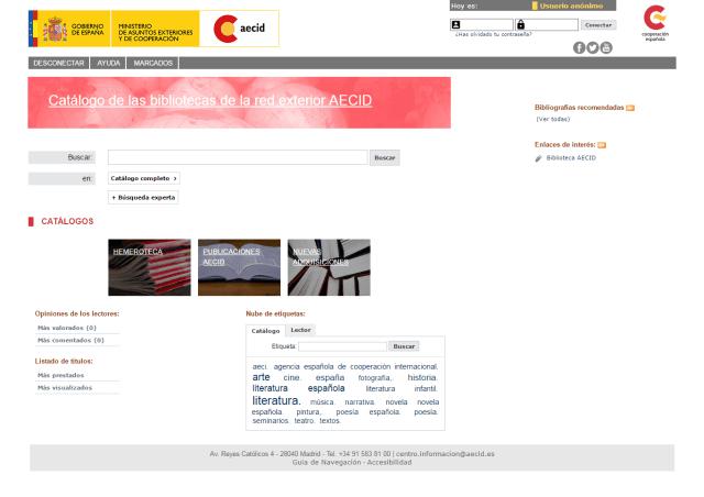 Catálogo de las bibliotecas de la red exterior AECID